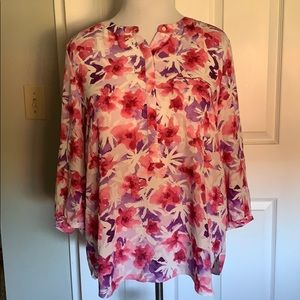 Pink beautiful floral summer blouse PXL